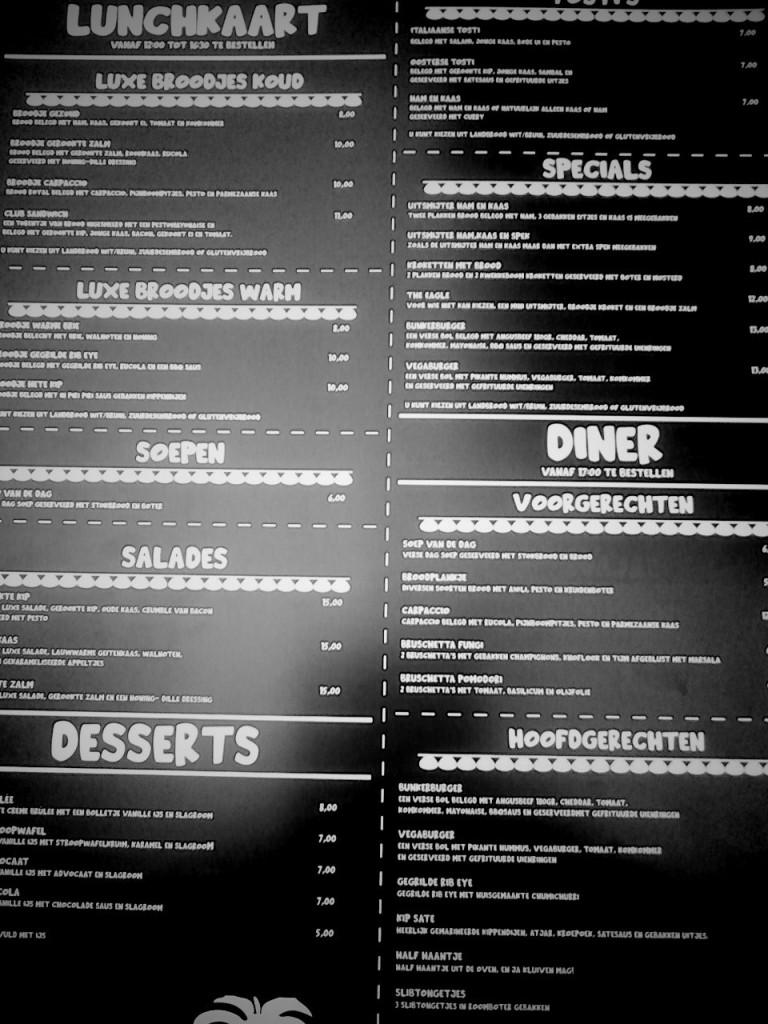 menu zwartwit