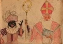 tekening die onderwijzer eerst op papier maakte en daarna op het bord zette, meer dan 70 jaar oud